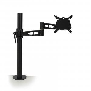 Black single screen desk mount